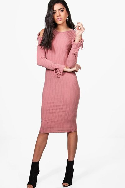 Boohoo Tina Cold Shoulder Tie Detail Midi Dress in blush - Dresses are the most-wanted wardrobe item for...