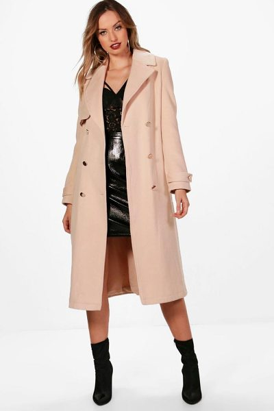 BOOHOO Tina Double Breasted Wool Look Coat - Wrap up in the latest coats and jackets and get...