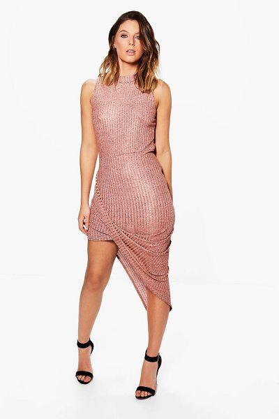 Boohoo Tina Metallic Asymetric Bodycon Dress in rose - Dresses are the most-wanted wardrobe item for...