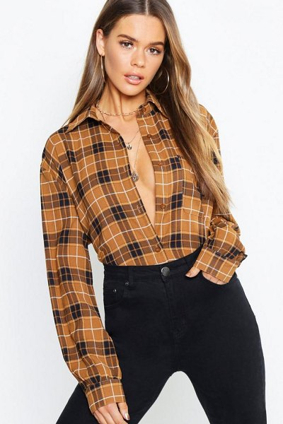 Boohoo Tonal Check Collared Woven Shirt in camel - Steal the style top spot in a statement separate from...