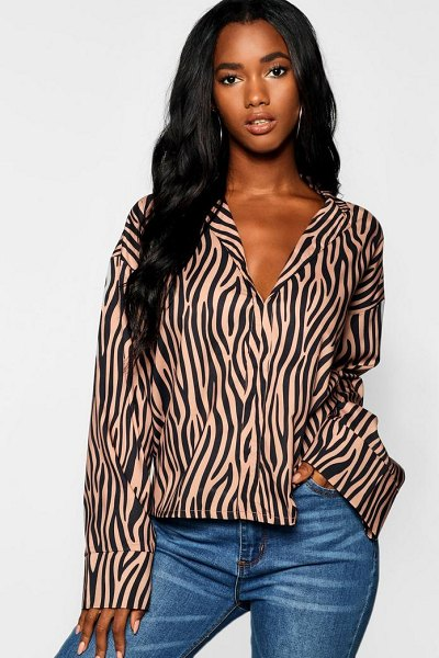 Boohoo Tonal Zebra Print Flare Sleeve Satin Shirt in camel - Steal the style top spot in a statement separate from...