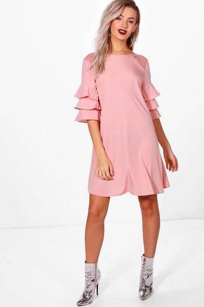 Boohoo Triple Frill Lace Insert Swing Dress in nude - Dresses are the most-wanted wardrobe item for...