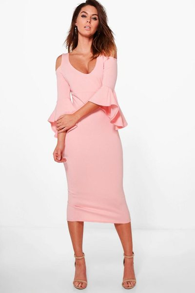 Boohoo Open Shoulder Frill Midi Dress in candlelight peach - Dresses are the most-wanted wardrobe item for...