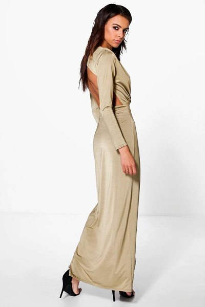 Boohoo Uhura Slinky Wrap Open Back Maxi Dress in gold - Dresses are the most-wanted wardrobe item for...