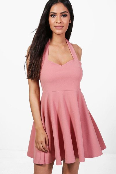 Boohoo Una Bow Neck Sweetheart Skater Dress in rose - Una Bow Neck Sweetheart Skater Dress rose