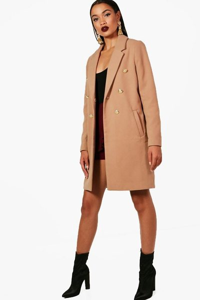 Boohoo Double Breasted Military Coat in camel - Wrap up in the latest coats and jackets and get...