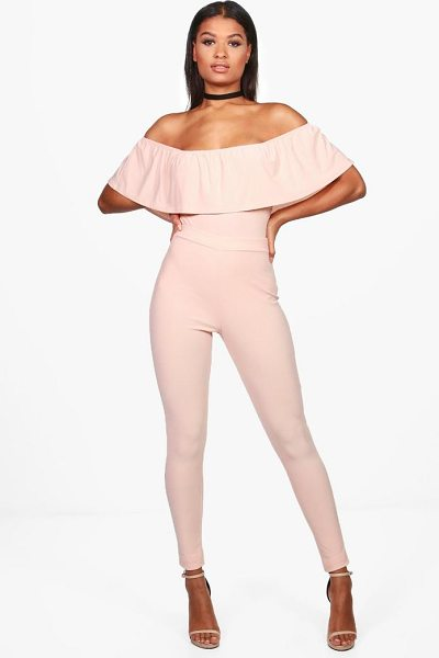Boohoo Una Off Shoulder Body & Trouser Co-ord in blush