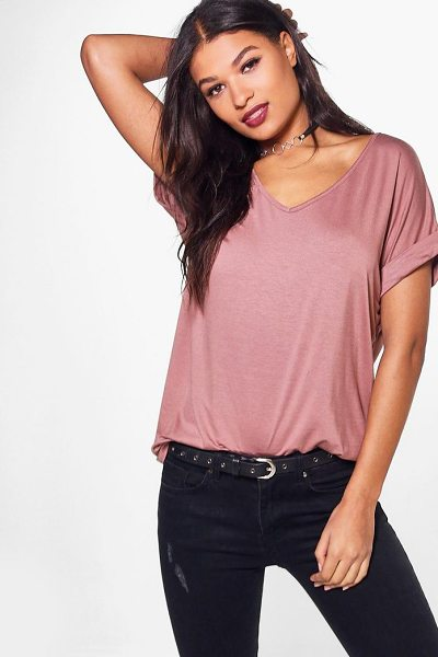 Boohoo Oversized Boyfriend V Neck T-Shirt in camel - Steal the style top spot in a statement separate from...