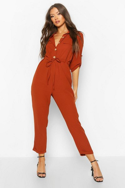 Boohoo Utility Button Front Boiler Suit in terracotta