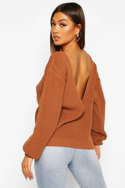 Boohoo V-Back Oversized Sweater in toffee