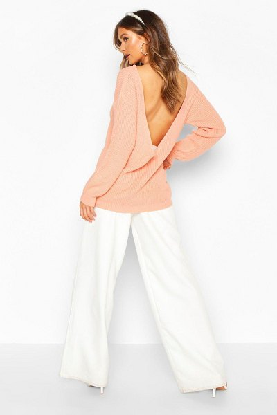 Boohoo V Back Oversized Sweater in apricot