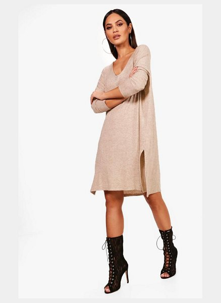 Boohoo V Neck Knitted Dress in oatmeal - Dresses are the most-wanted wardrobe item for...