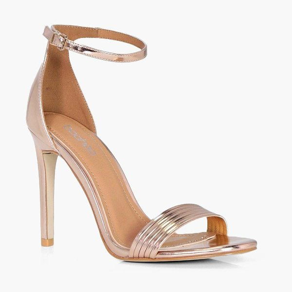 Boohoo Band Detail Two Part Heel in rose gold - We'll make sure your shoes keep you one stylish step...