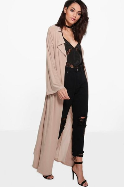 Boohoo Vanessa Flute Sleeve Slinky Duster in copper - Wrap up in the latest coats and jackets and get...