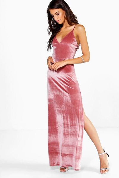 Boohoo Velda Velvet Strappy Thigh Split Maxi Dress in rose - Dresses are the most-wanted wardrobe item for...