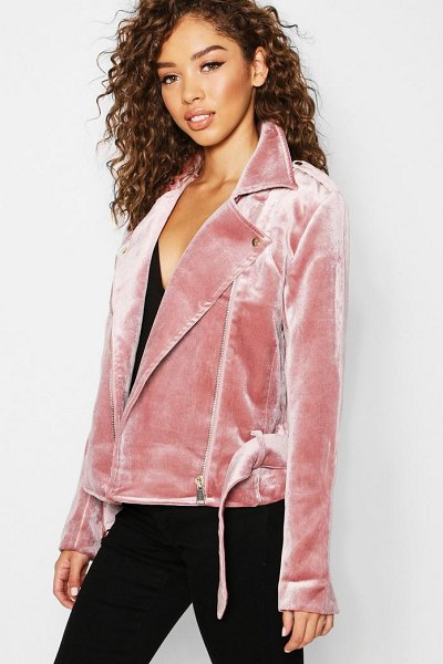 Boohoo Velvet Biker Jacket in pink - Wrap up in the latest coats and jackets  and 331783818