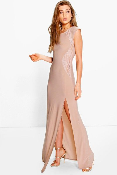 Boohoo Veronica Lace Insert Maxi Dress in stone