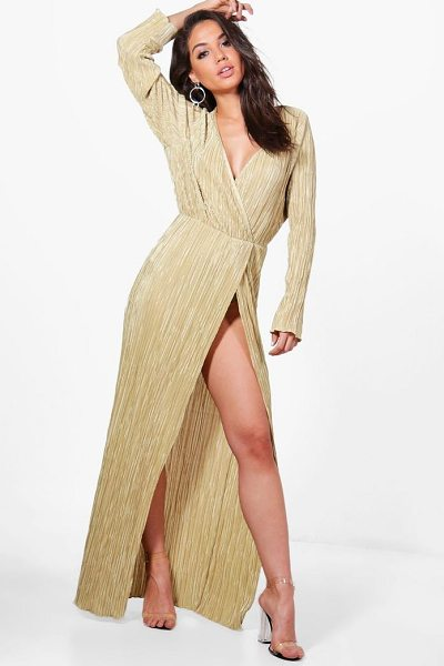 Boohoo Vicky Pleated Long Sleeve Wrap Maxi Dress in gold - Spin your way through cocktail hour in our selection of...