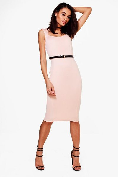 Boohoo Victoria Tailored Belted Midi Dress in blush - Dresses are the most-wanted wardrobe item for...