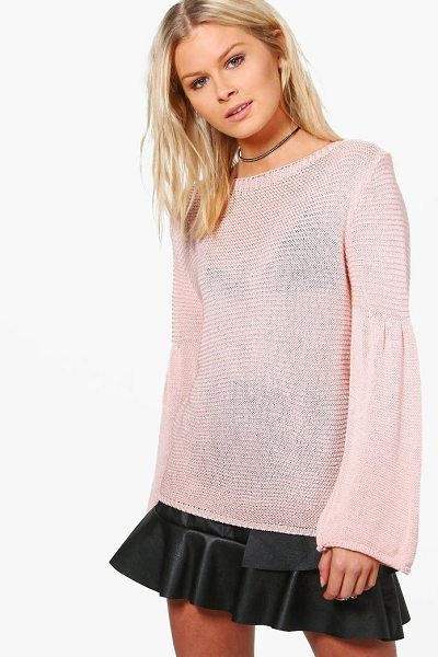 Boohoo Violet Flare Sleeve Jumper in nude - Nail new season knitwear in the jumpers and cardigans...