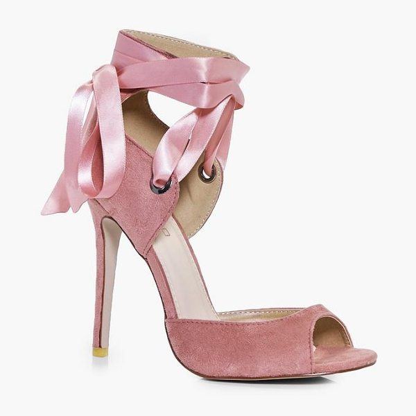 Boohoo Violet Lace Up Peeptoe Sandal in blush