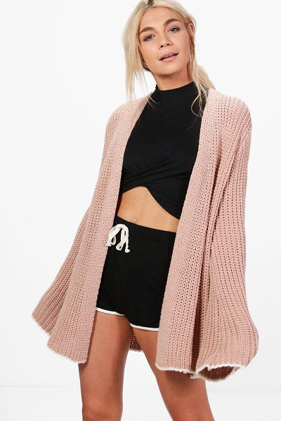 Boohoo Violet Wide Sleeve Edge To Edge Cardigan in nude - Violet Wide Sleeve Edge To Edge Cardigan nude