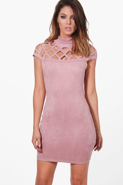 Boohoo Wanda Bonded Suedette Bodycon Dress in rose - Dresses are the most-wanted wardrobe item for...