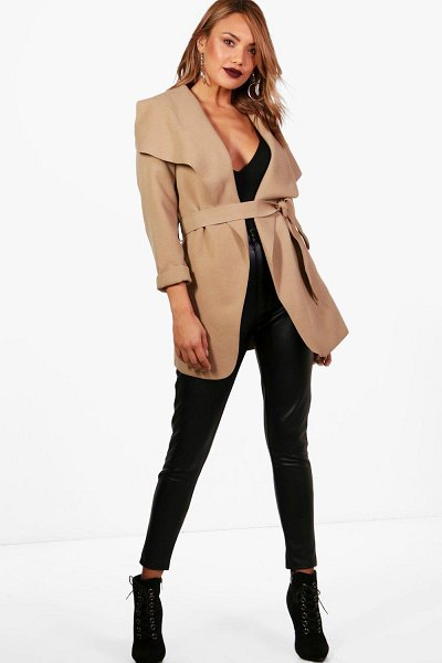 Boohoo Waterfall Coat in camel