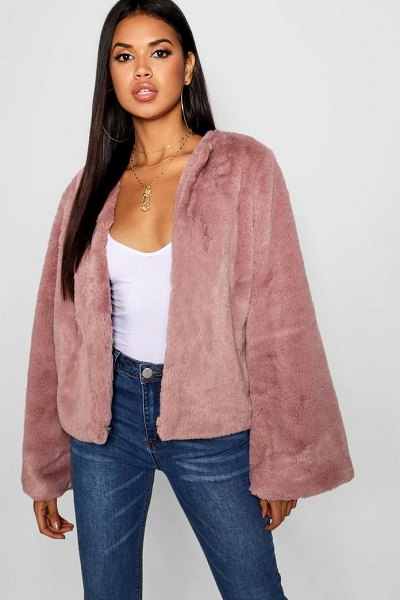 Boohoo Wide Sleeve Faux Fur Coat in mauve - Wrap up in the latest coats and jackets and get...