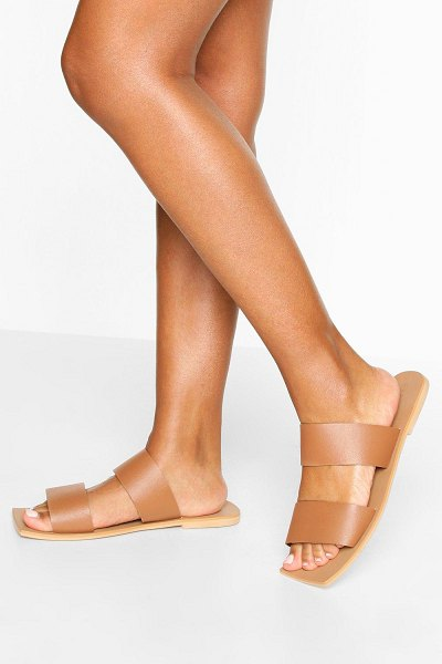 Boohoo Wide Width Double Strap Square Toe Slides in tan