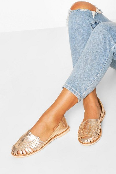 Boohoo Wide Width Metallic Leather Woven Ballets in rose gold
