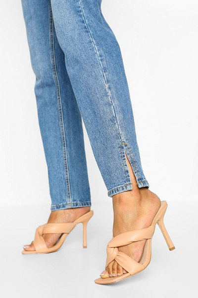 Boohoo Wide Width Padded Strap Square Toe Mules in nude