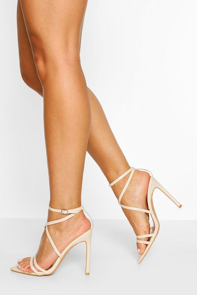 Boohoo Wide Width Pointed Toe Strappy Heel in nude