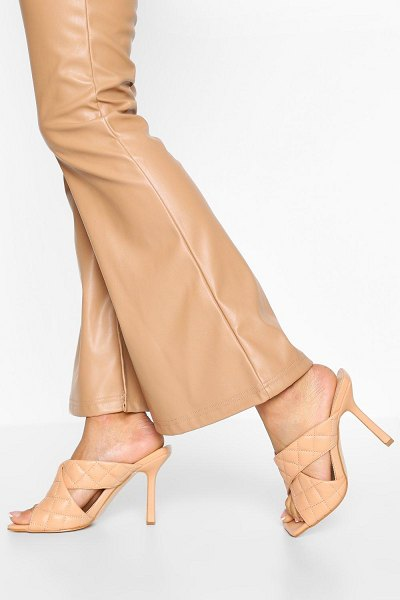 Boohoo Wide Width Quilted Cross Strap Mules in nude