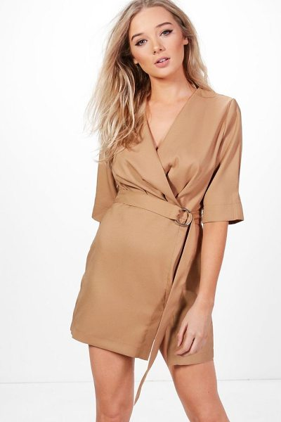 Boohoo Willow Pleat Front Belted Dress in camel - Dresses are the most-wanted wardrobe item for...