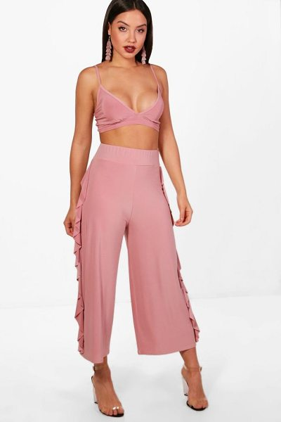 Boohoo Willow Slinky Firll Culotte and Bralet Set in rose dust - Co-ordinates are the quick way to quirky this seasonMake...