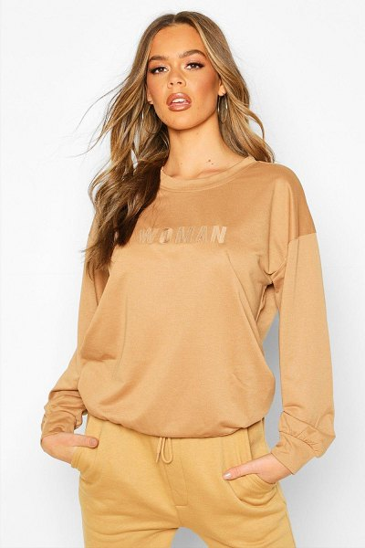 Boohoo Woman Embroidered Oversized Sweater in camel