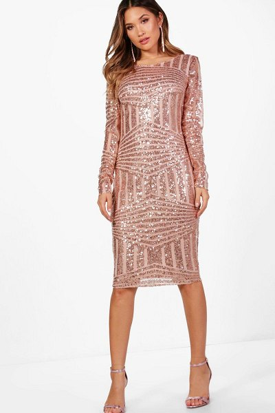 Boohoo Boutique Sequin And Mesh Midi Dress in rose