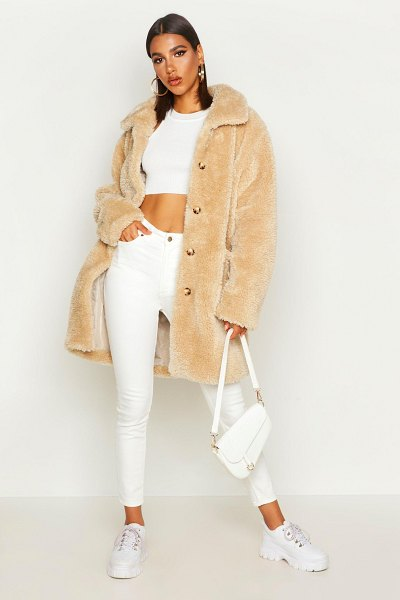 Boohoo Button Through Teddy Faux Fur Coat in stone