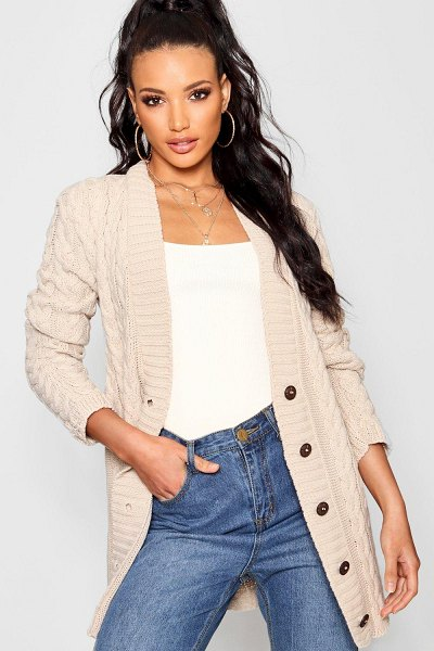 Boohoo Cable Knit Cardigan in stone