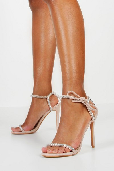 Boohoo Embellished Tie Strap Heeled Sandals in nude
