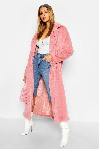Boohoo Maxi Faux Fur Coat in pink