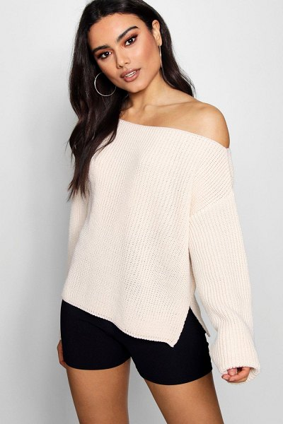 Boohoo Off The Shoulder Slouchy Sweater in cream