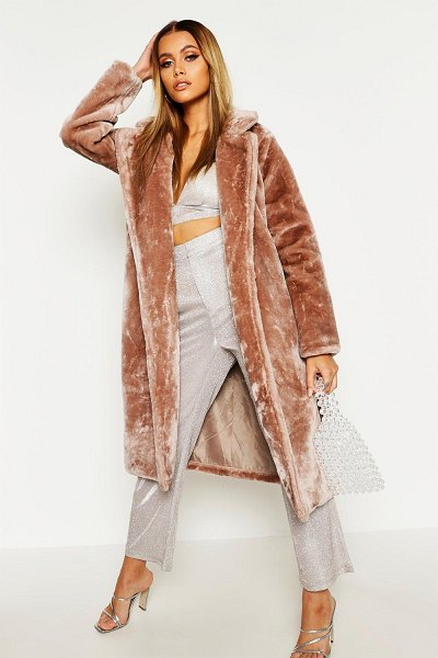 Boohoo Textured Faux Fur Belted Coat in mauve