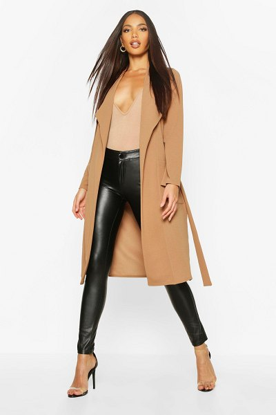 Boohoo Utility Pocket Belted Duster in camel
