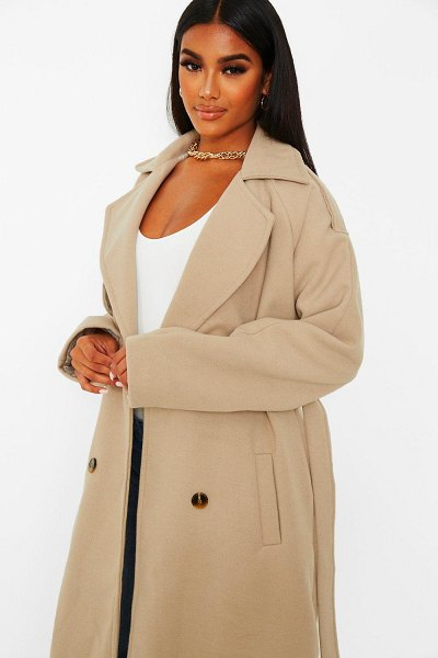Boohoo Wool Look Belted Trench Coat in stone