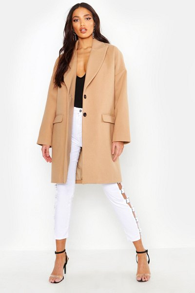 Boohoo Wool Look Boyfriend Coat in camel