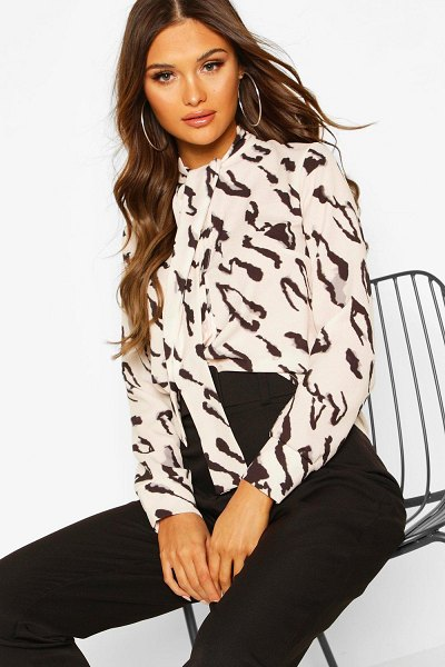 Boohoo Woven Animal Print Pussy Bow Blouse in nude