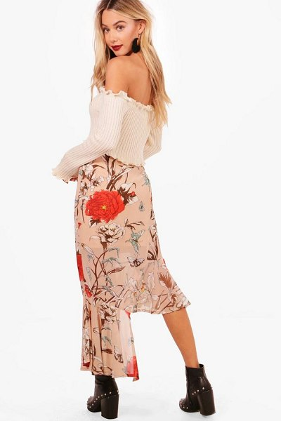 Boohoo Woven Asymetric Hem Floral Midi Skirt in blush - Skirts are the statement separate in every wardrobe This...