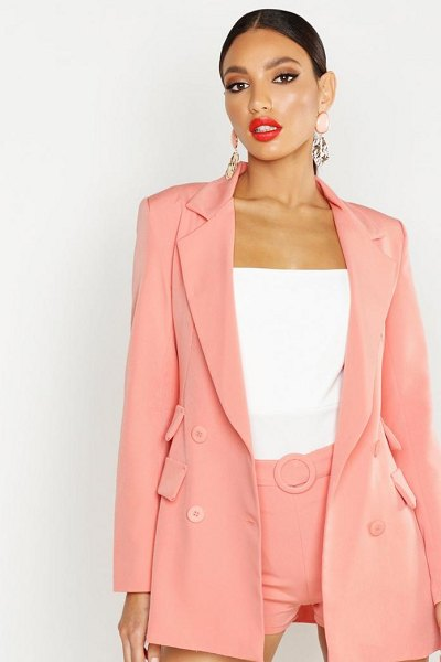 Boohoo Woven Double Pocket Blazer in coral